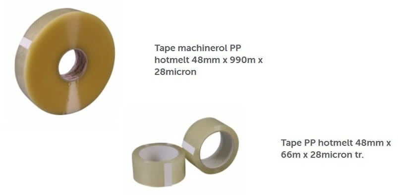 Hotmelt tape voor machine en handrol